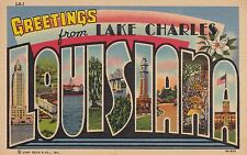 Greetings from Lake Charles, Louisiana - Large Letter Linen