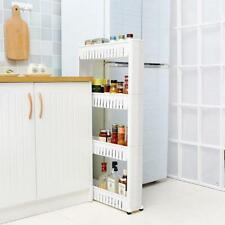 Kitchen Storage Rack Fridge Side Shelf 3/4/5 Tier Portable Rack White/Gray