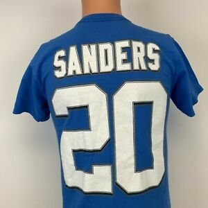 Majestic Barry Sanders Detroit Lions Hall Of Fame Jersey T Shirt NFL Football S