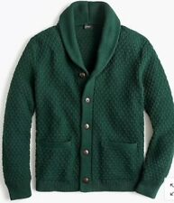 """NWT JCREW $120 Quilted cotton cardigan sweater SzM K4059 Pine Bough Green HO""""18"""