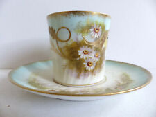 SUPERB ANTIQUE LIMOGES HANDPAINTED PORCELAIN CUP & SAUCER 1910's