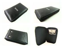 Premium Quality Soft Black Leather Zip Around Case Key Holder Wallet Pouch Purse