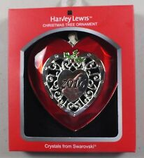 Nos 2016 Harvey Lewis Heart Shaped Christmas Tree Ornament W/ Swarovski Crystals