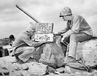 OLD LARGE MILITARY PHOTO, WWII Battle Iwo Jima, 4th Marines Post Office