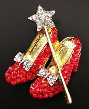Wizard Of Oz Dorothy's Ruby Red Slippers Shoes Pin Brooch, Sparkling Rhinestones
