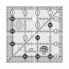 """4-1/2"""" x 4-1/2"""" Square, Creative Grids Quilt Ruler, CGR4 Quilting Tool"""