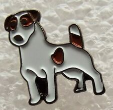 White and Brown Jack Russell Dog metal enamel pin badge Canine Pet