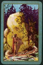 Vintage Playing Card :  NATIVE AMERICAN IN CANOE