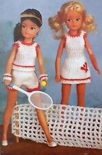 Vintage Dolls Knitting Pattern Barbie/Sindy Sporty Top Tennis Dress Shorts E6751