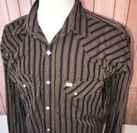 Larry Mahan Cowboy Collection Men Diamond Pearl Snap L/S Brown Striped Shirt XXL