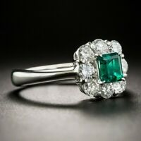 Exquisite Emerald Diamond-Set Ring Lady's Wedding Ring 925 Silver Jewelry Sz6-10