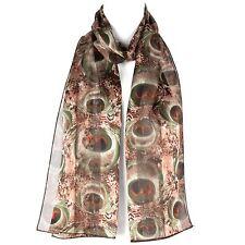 Chiffon Satin Ladies Womens Floral Design Scarf Shawl Wrap