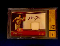 2012 Bowman Platinum Mike Trout RC Blue Refractor Relic Auto #111/199 BSG 9.5/10