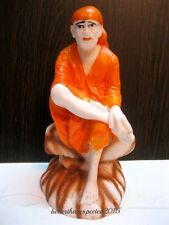 SHIRDI SAI BABA STATUE HANDMADE OF WHITE POLY MARBLE HOME DECOR ART~ ENERGIZED