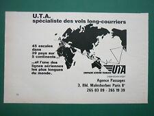 1972 PUB COMPAGNIE AERIENNE UTA AIRLINE TRANSPORT AERIEN AFRIQUE ORIGINAL AD