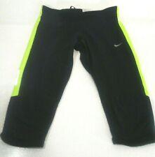Nike Womens Black and Fluorescent Yellow Dri Fit Running Capri's Small