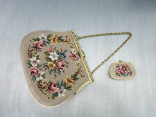 VINTAGE GOBELIN LEDER HANDTASCHE_1950 NEEDLEPOINT LEATHER HANDBAG &  PURSE_Beige