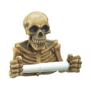 Skull Skeleton Toilet Paper Holder Wall Mount Bathroom Decor