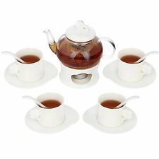 Kendal 20 oz tea maker teapot with a warmer, 4 sets of Cup & Saucer and Spoon s1