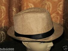 T73:New Stylish Fedora Hat for Men-Free Size-Tan-Gift Idea