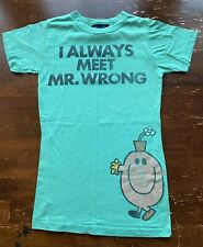 Junk Food T-Shirt Tee Shirt Women's MEDIUM Little Miss Always Meet Mr. Wrong