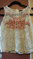 rue 21 Junior Medium White/Pink Lace/Embroidered Tank Top