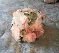 Vtg 1950s Ladies Easter Hat w/ Pink Roses by Dana Craig's Millinery Houston Tx