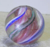 #11044m Vintage German Handmade Solid Core Swirl Marble .84 Inches