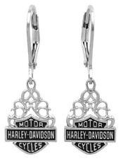Harley-Davidson Women's Bar & Shield Dangle Earrings Silver Filigree HDE0258