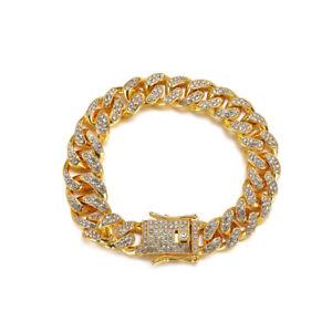 Street Thick Alloy Bracelet Hip Hop Necklace With Diamond Cuba Chain