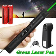 10 Miles 532nm 1mw 303 Green Laser Pointer Lazer Pen Beam Light +2*18650+Charger