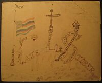 ANTIQUE 1890 AMERICAN FOLK ART FLAG LANCASTER CO PA EBERLY VALENTINE DAY LIBERTY