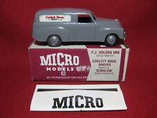 Micro Models FJ Holden Panel Van Corlett Bros Bakers Grey MIB 1980s Vintage