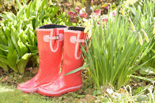 Budget Spotty Red Glossy Wellies UK Size 4/5 ONLY