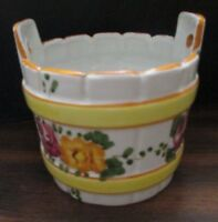 Bucket Shaped hand painted Ceramic Planter Floral pattern Flowers