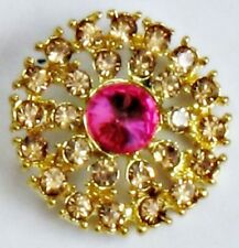 2 x Gold Grade A Pink Rhinestone Crystal Round Shank Buttons Sewing 25mm M0255P