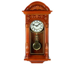 "BEDFORD 27.5"" PADAUK OAK FINISH GRANDFATHER WALL CLOCK with 4 CHIMES PENDULUM"