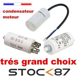 condensateur moteur au choix 2,5; 3; 4; 6; 8; 10; 20; 25; 30; 40; 50; 60; 80 uF