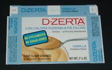 1970 JELL-O D-ZERTA Box Vanilla unused flat prop grocery food product diet