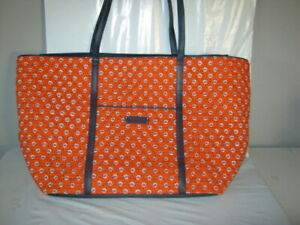 Vera Bradley X-Large Zipper Tote Bag Orange Navy Blue 14 x 17 x 7 EUC