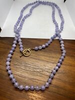 Vintage Pastel Purple Chalcedon 60 nch  Necklace Jumprope Beaded