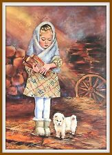 Kids & Dogs Little Girl Helper White Puppy Fuel Wood Russian Art Postcard modrn