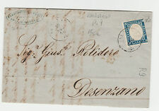 STORIA POSTALE 1860 SARDEGNA 20 C. SU BUSTA CON ANNULLO RIF. 459/X
