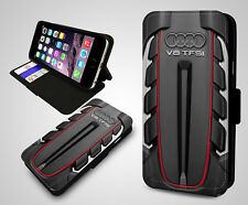 Audi German Engineering S Line V8 Sport Engine Leather Wallet Phone Case Cover