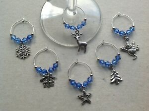 Handmade Set of 6/8/10 Christmas Wine Glass Charms, choice of 13 colours, party