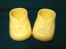 Pair Vintage Plastic Yellow Baby Booties Nursery /Baby Shower Planters