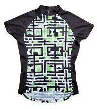 Primal Wear Women's Cycling Jersey Grid Graphic Black White Lime sz S EUC