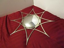 "ATOMIC CONVEX SILVER METAL SUNBURST WALL MIRROR  Global Views 31¼"" Wide"