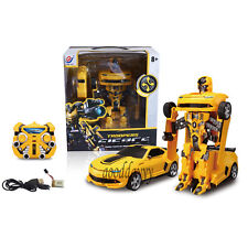 1Electric Transformers Bumblebee Robot Remote Control RC Car Xmas Gift for child