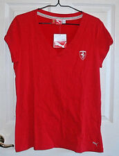 Ferrari Women's Top Tee Shirt Red Medium Puma Horse Crest NWT Official Cotton